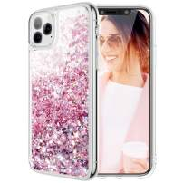 Caka Case for iPhone 11 Pro Max Glitter Case for Women Girls Liquid Bling Sparkle Shining Luxury Fashion Flowing Glitter Soft TPU Clear Phone Case for iPhone 11 Pro Max (6.5 inch)(Rose Gold)