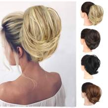 2PCS Messy Hair Bun Extensions Straight Synthetic Chignon Hairpiece Scrunchie Scrunchy Updo Hairpiece for Women(86H10#)