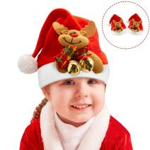 Christmas Hats for Kids, Christmas Santa Hat for Toddler, Child Adorable Soft Comfort Christmas Reindeer Costume Gift for Celebrations & Recreation for Boys & Girls under the age of 6 (2PCS)