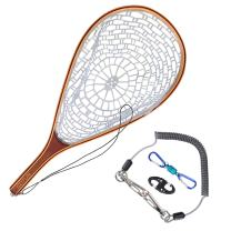 Goture Magnetic Clip Fly Fishing Landing Net Catch and Release Trout Net Aluminum Alloy Frame with Soft Rubber Mesh Black Rubber Net/Purple?