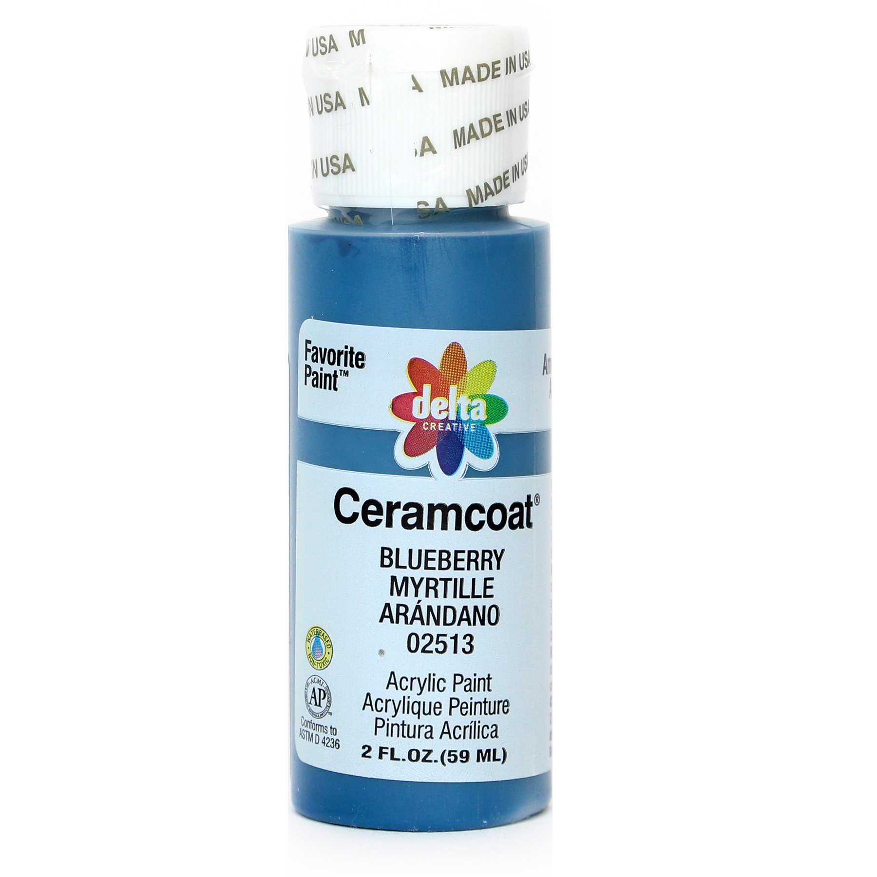 Delta Creative Ceramcoat Acrylic Paint in Assorted Colors (2 oz), 2513, Blueberry