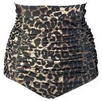 COCOSHIP Women's Retro High Waisted Bikini Bottom Ruched Swim Short Tankinis(FBA)