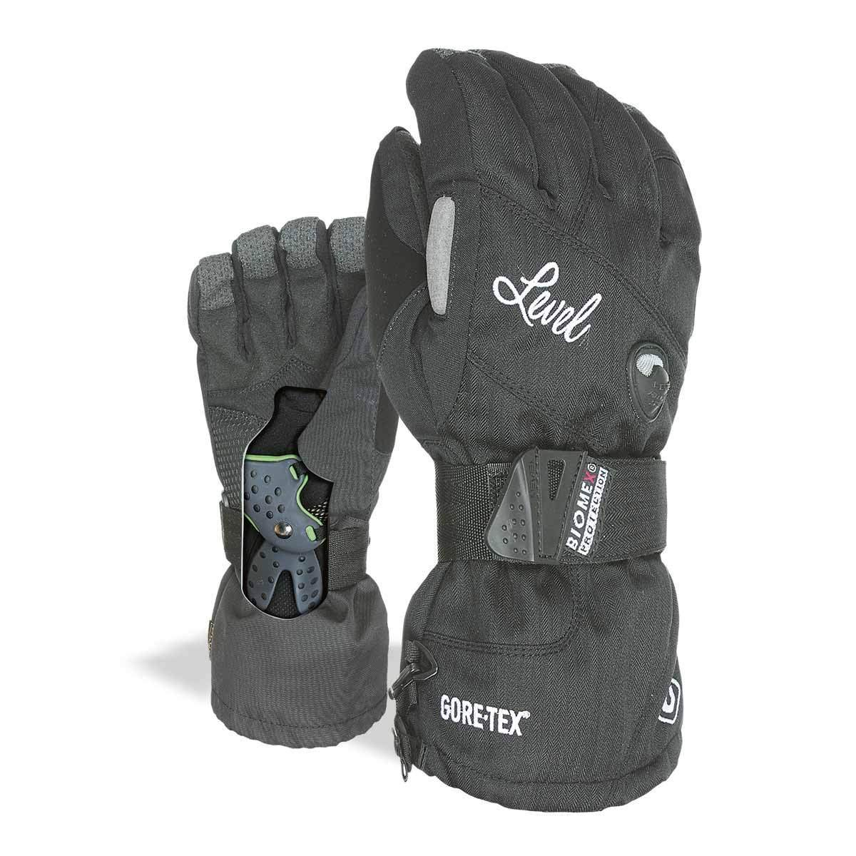 """Level Half Pipe""""Plus"""" Womens Snowboard Gloves with BioMex Wrist Guards, Waterproof GoreTex Shell, Warm ThermoPlus Liner"""
