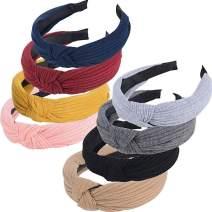 CozofLuv 8 Packs Wide Headbands Knot Turban Headband Hair Band Elastic Plain Fashion Hair Accessories for Women and Girls, Children (#1)