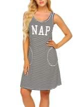 Ekouaer Sleepwear Womens Nightgowns Striped Night Shirts Sleeveless Sleep Dress S-XXL