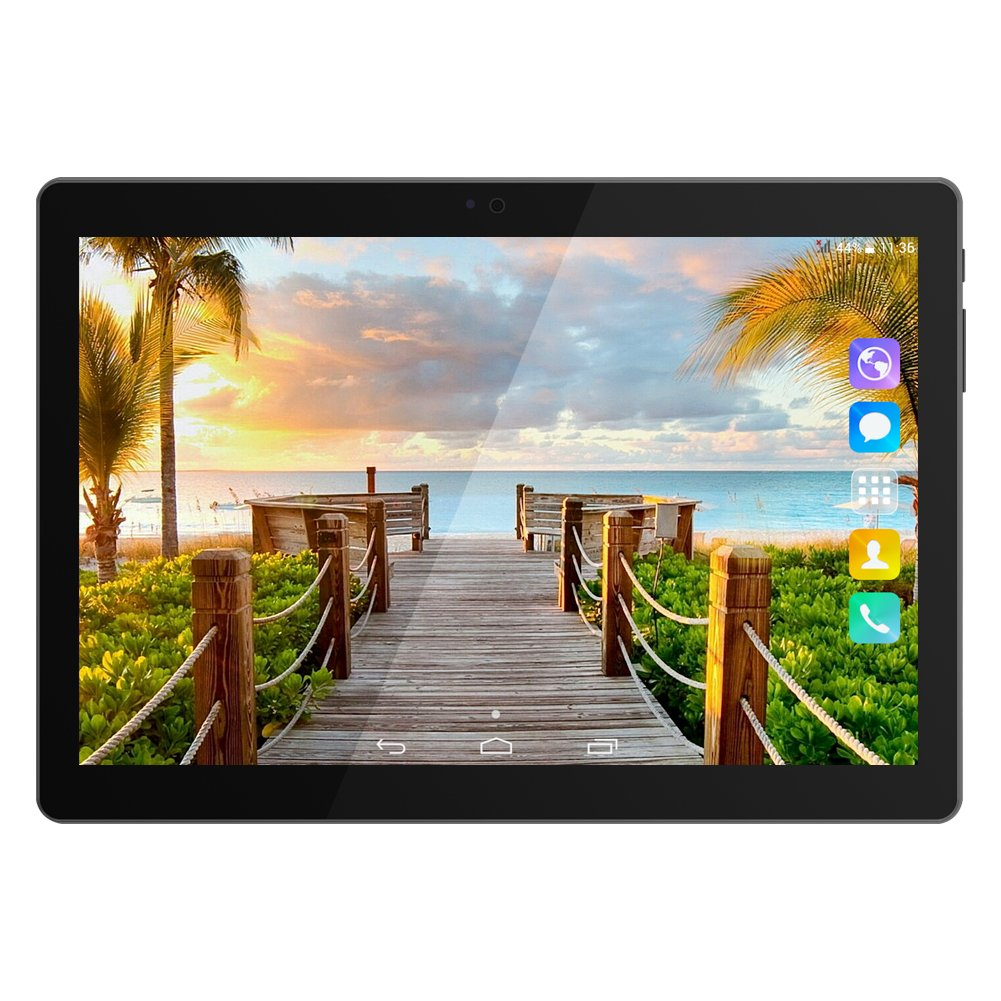Kivors 3G Touch Tablet 10.1 Inch - Android 7.0-1G RAM + 16GB ROM - 2.5D Curve Screen - 800 x 1280 HD - Dual SIM Card Slots - Dual Camera - WiFi for Kids Adults (10.1 inch, Black)