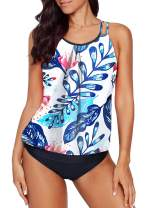Happy Sailed Women Push Up Padded Printed Sporty Tankini Swimsuits Bathing Suit S-XXL