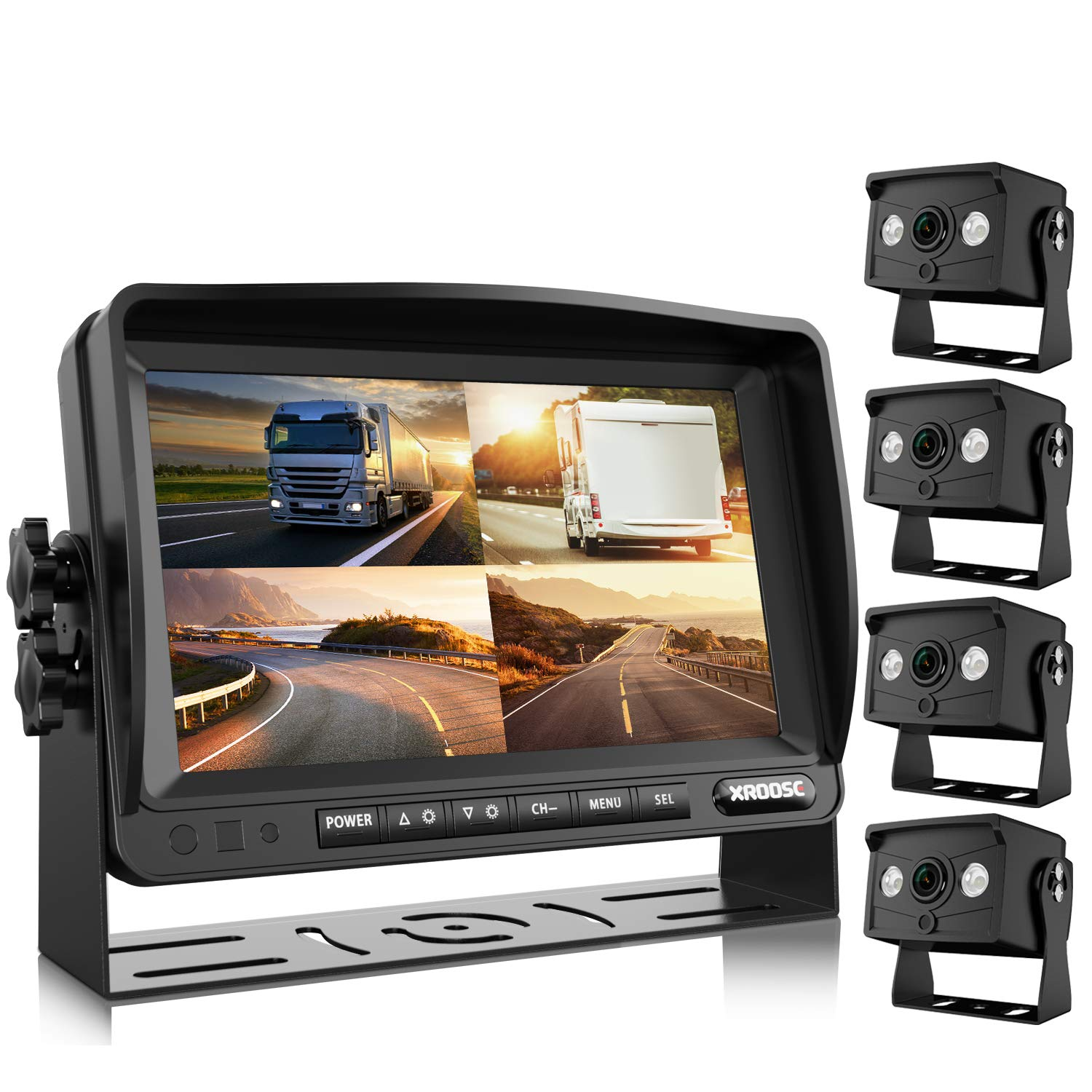 """Backup Camera with 7"""" Monitor Built-in Upgraded Recorder for RV Semi Box Truck Trailer 4 Quad Screen HD Waterproof IR Rearview Backing Up Camera System Great for Reversing/Driving by Xroose"""