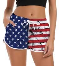 Goodstoworld Women's Drawstring Board Shorts Quick Dry Stretch Novelty Patterns Swimsuits Swimwear Bottoms S-XXL