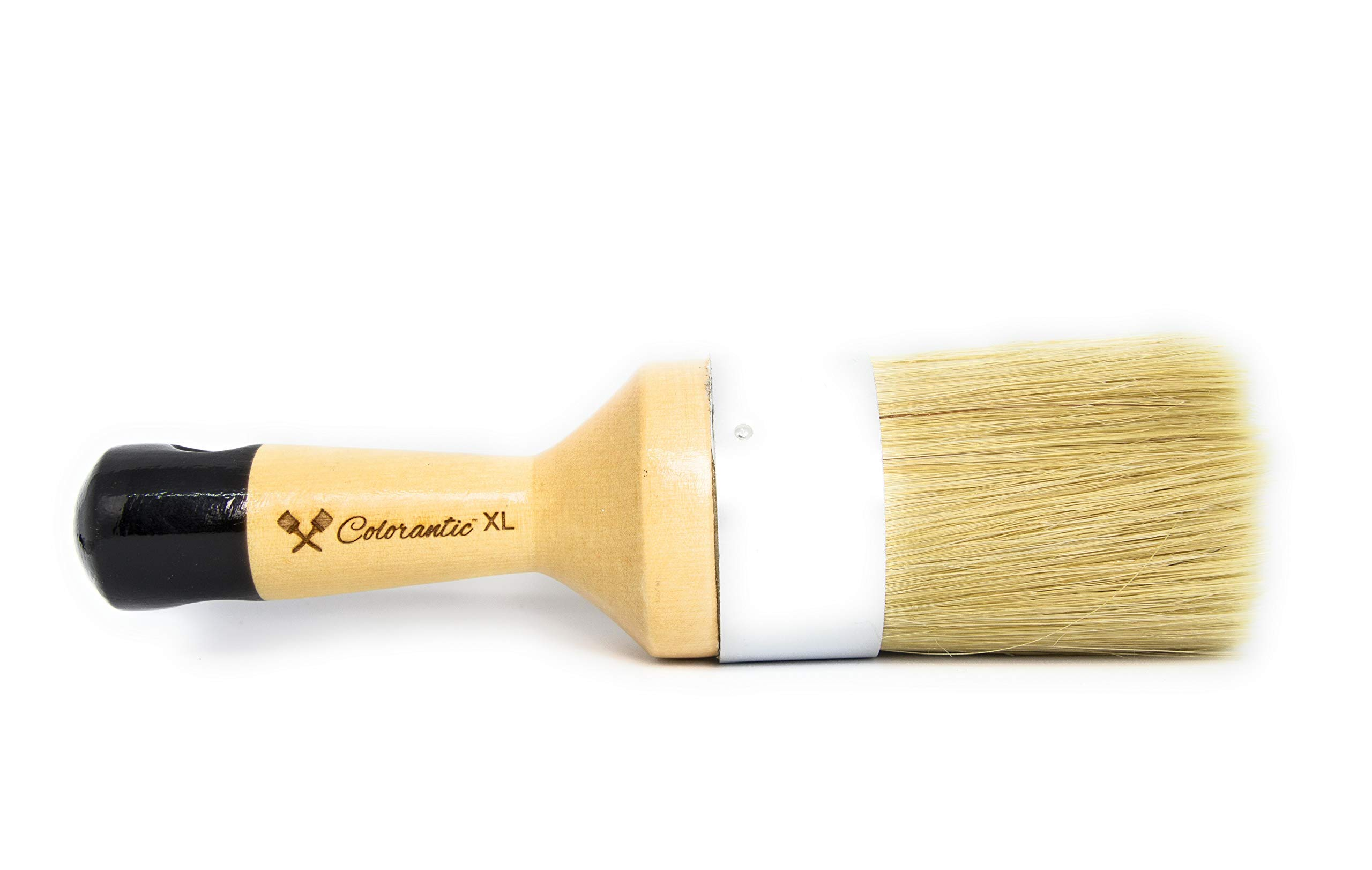 Colorantic   Large Furniture Round Oval Soft Wax Waxes Brush Brushes   Beeswax DIY Chalk Based Paint Fabric Painting (XL Round Natural Brush)