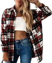 Meceku Womens Flannel Plaid Shirts Long Sleeve Casual Mid-Long Blouses Button-Down Shirts with Pockets