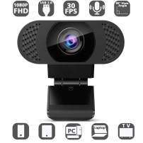 Huryfox PC Webcam with Microphone, 1080P Full HD Computer Camera, Portable USB 2.0 Web Webcams for Video Calling, Online Classes, Lectures, Live Streaming