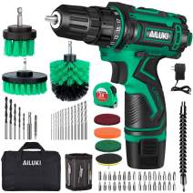 Cordless Drill Driver Kit,67Pcs 12V Drill Set Lithium-Ion Battery,Magnetic Wristband Brushes Tape Measure,Max Drill 280 In-lb Torque,3/8'' Keyless Chuck,25+1 Metal Clutch and Built-in LED