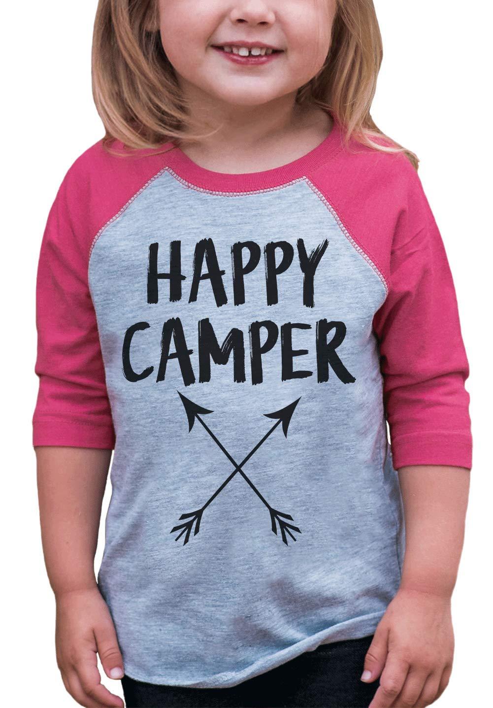 7 ate 9 Apparel Girl's Happy Camper Outdoors Raglan Tee