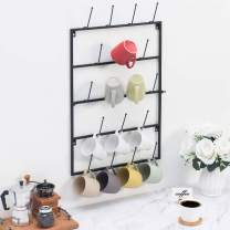 MyGift 5 Tier Black Metal Wall Mounted Kitchen Mug Hook Display/Cup Storage Organizer Hanger Rack