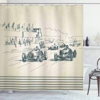 "Ambesonne Vintage Car Shower Curtain, Vintage Racing Cars Sport Nostalgic Sketchy Doodle Style, Cloth Fabric Bathroom Decor Set with Hooks, 84"" Long Extra, Forrest Green"