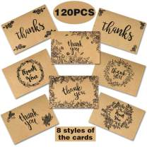 OurWarm 120 Graduation Thank You Cards and Envelopes, Congratulations Thank You Notes, Rustic Blank Thank You Cards with Envelopes for Graduation Party Supplies, Business, Wedding, Baby Shower Gift Ca