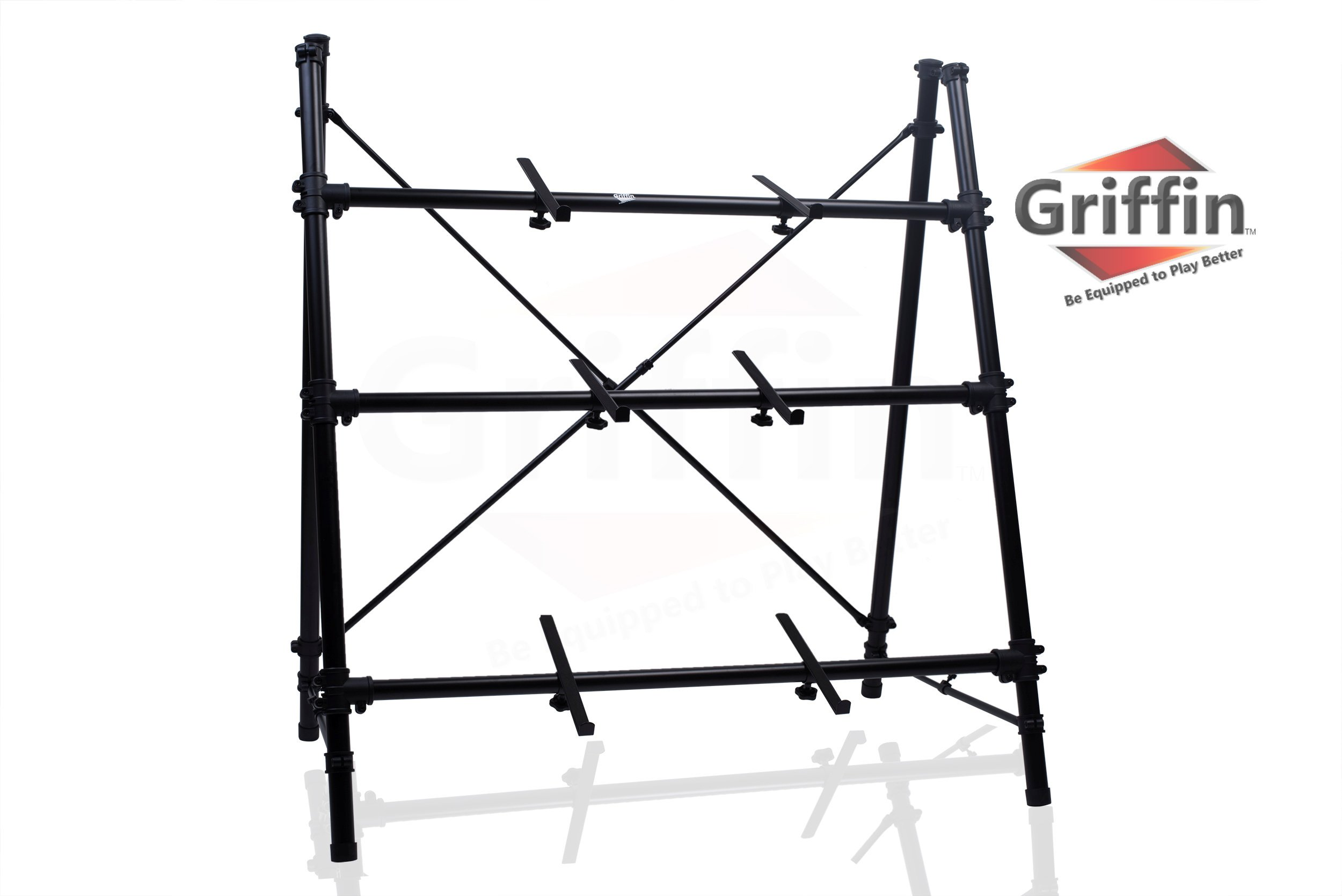 3 Tier Piano Keyboard Stand by Griffin|Triple A-Frame Standing Synthesizer Mixer Holder with Adjustable Height|Pro Audio Stage Performance/Recording Studio Hardware for Music Schools, DJs, Bands