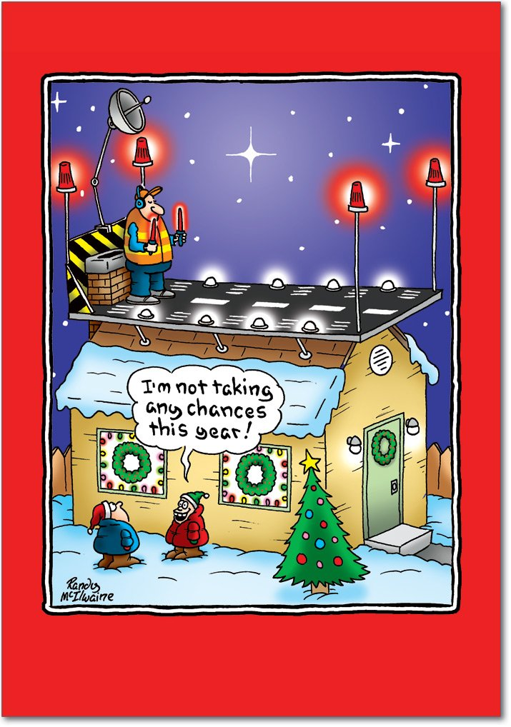 12 'Santa Runway' Boxed Christmas Cards with Envelopes 4.63 x 6.75 inch, Silly Holiday Cartoon Christmas Notes, Funny Santa Claus on Rooftops Holiday Notes, Unique Christmas Stationery B5896