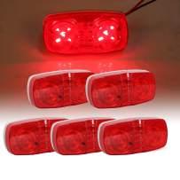 "ECOTRIC LED Trailer Marker 4"" x 2"" Bullseye Lights | Super Bright 10 Diodes Light Indicator RED/AMBER | Double Bubble 12V Rectangular Surface Mount RV Camper Trucks LED Side Marker (5Red)"