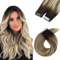 LaaVoo Rooted Tape Hair Extensions 18 Inch Natural Straight Tape in Hair Balayage Darker Brown Fading to Light Brown and Light Blonde 50g 20PCS Seamless Double Side Glue in Hair Extensions