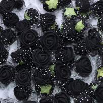 YONGSNOW Mini PE Foam Rose Flower Head 200pcs 2cm Artificial Rose Heads for DIY Scrapbooking Wreath Wedding Party Home Decoration (Black)