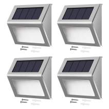 Solar Step Lights with Larger Battery Capacity JACKYLED 4-Pack Stainless Steel Bright 3 LED Solar Powered Deck Lights Weatherproof Outdoor Lighting for Steps Stairs Decks Fences Paths Patio Pathway