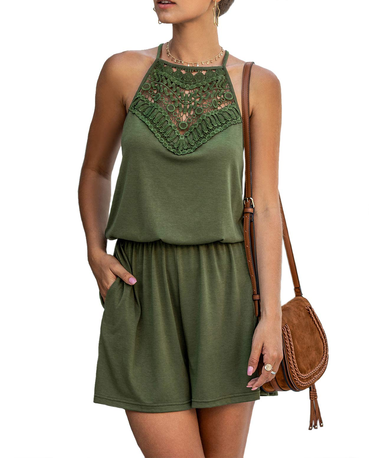 MANSY Womens Rompers Summer Lace Halter Neck Patchwork Sleeveless Short Pant Jumpsuit Rompers with Pocket