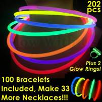 """Glow Sticks Bulk Wholesale Necklaces, 100 22"""" Glow Stick Necklaces+100 FREE Glow Bracelets! Bright Colors Glow 8-12 Hr, Connector Pre-attached(handy), Glow-in-the-dark Party Supplies, GlowWithUs Brand"""