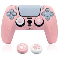 PS5 Controller Skins Pink, BRHE Cute Silicone Protective Cover Rubber Case Kawaii Protector Accessories Set for Playstation 5 Gamepad with 2 Cat Paw Thumb Grip Caps