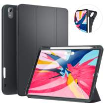 Ztotop Case for iPad Pro 11 Inch 1st Generation 2018 with Pencil Holder- Lightweight Soft TPU Back Cover and Trifold Stand with Auto Sleep/Wake,Support 2nd Gen iPad Pencil Charging,Darkgray