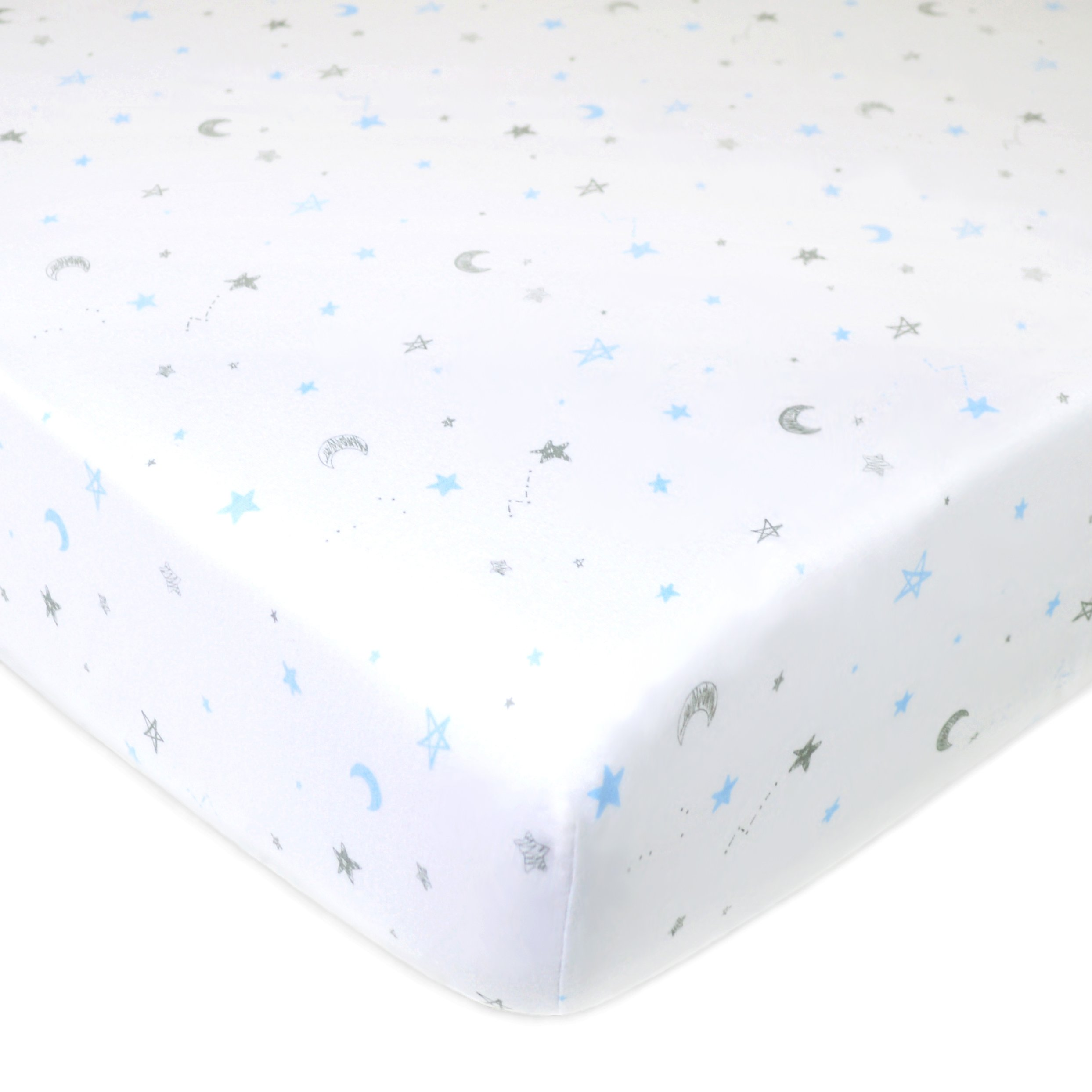 American Baby Company Printed 100% Cotton Jersey Knit Fitted Crib Sheet for Standard Crib and Toddler Mattresses, Blue Stars and Moon, for Boys and Girls