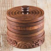 Rusticity Discontinued Wooden Coaster Set of 6 with Holder for Beer and Other Drinks - Tower of Hanoi Design | Handmade | (3.75x3.75 in)