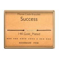 Morse Code Bracelet 14k Gold Plated Beads on Silk Cord Secret Message Success Bracelet Gift Jewelry for Her