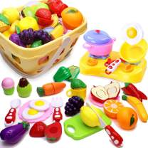 Play Food for Kids Kitchen Cutting Pretend Toy Food for Toddlers Kitchen Toys for Girls 32 Pieces Fruits Vegetables Come Apart by Velcro with Storage Basket, Educational Toys