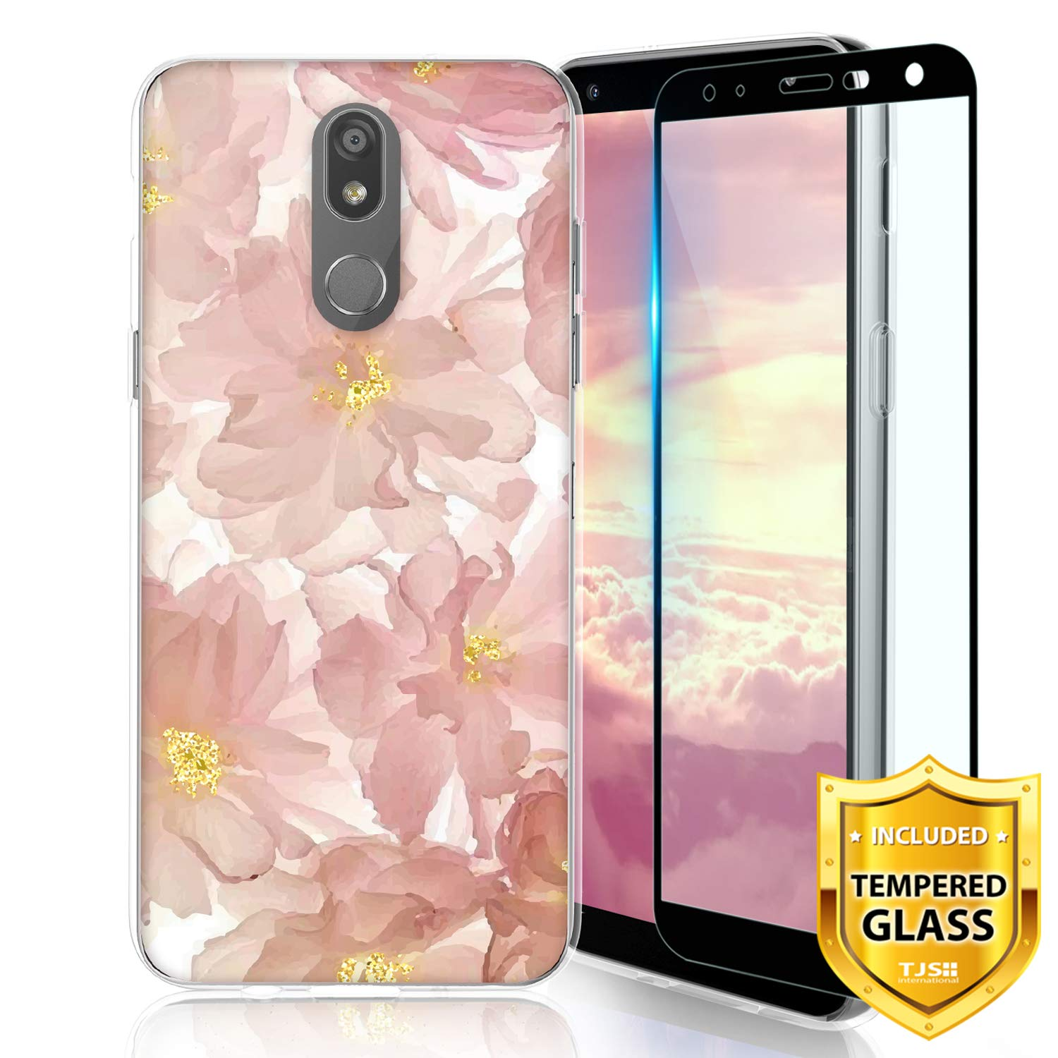 TJS Phone Case for LG K40/K12 Plus/X4/Solo LTE/Harmony 3/Xpression Plus 2, with [Full Coverage Tempered Glass Screen Protector] TPU Matte Color Transparent Clear Soft Skin Design Cover (Blush)