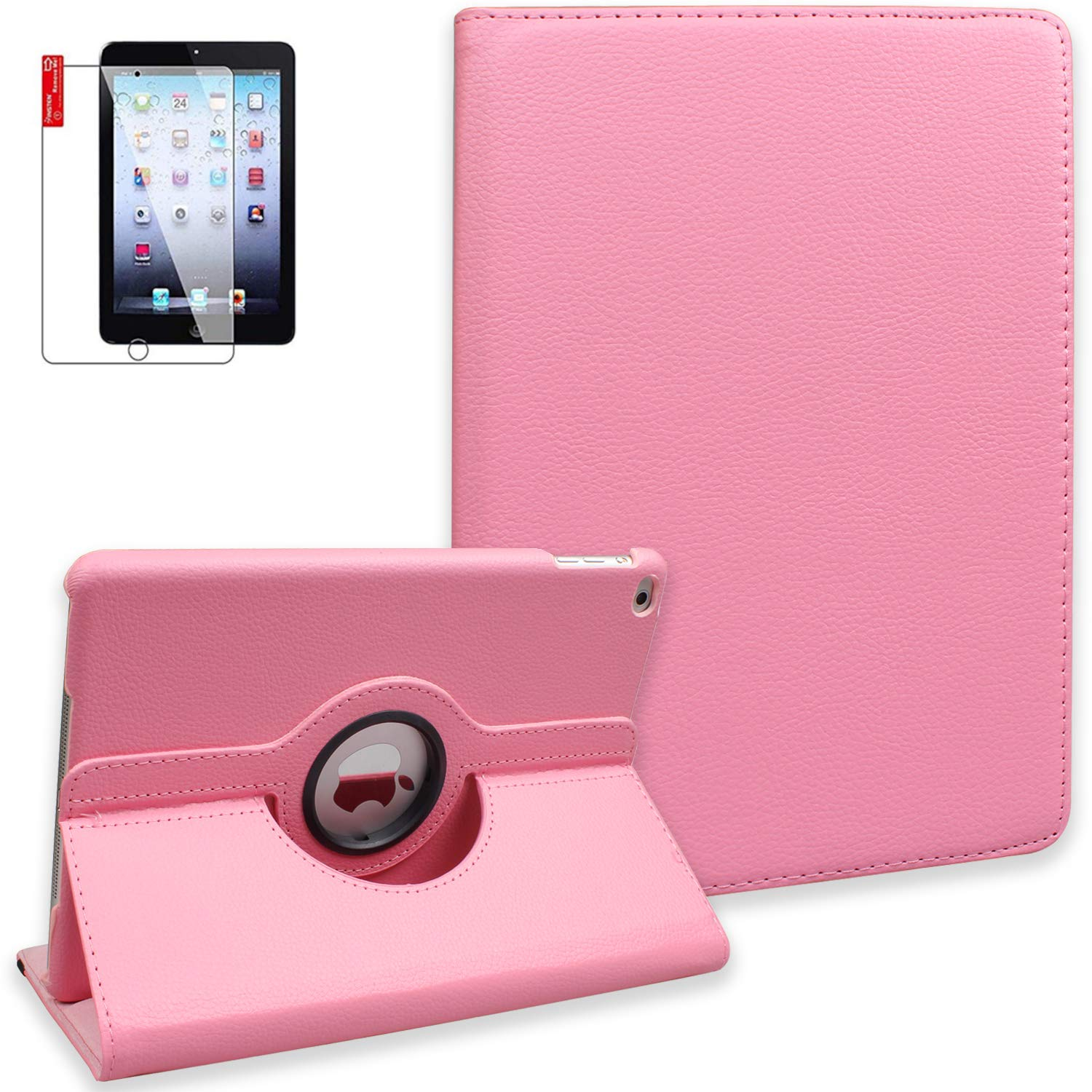 iPad 6th Generation Cases Cover with Screen Protector and Stylus - iPad 9.7 inch 2018 2017 Air1 Case - 360 Degree Rotating Stand, Auto Sleep Wake, Shockproof - A1822 A1823 A1474 A1475 MR7F2LL/A (Pink)
