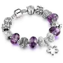 Hottime Beaded Bracelet for Women Handmade Carved Chain Charm Wristband