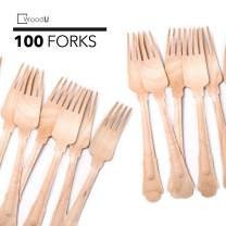 """WoodU Elegant Wooden Forks – Disposable Utensils, Biodegradable, Eco-Friendly - for Special Events, Fancy Parties, Wedding Receptions (100 Pack) 7.75"""" Length by WoodU"""