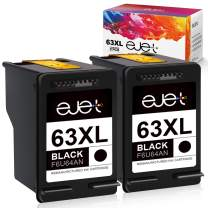 ejet Remanufactured Ink Cartridge Replacement for HP 63XL 63 XL, High Yield Work with OfficeJet 3830 4650 5255 Envy 4520 4512 4516 Deskjet 1112 3630 3634 3632 2132 Printer (2 Black)