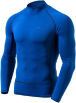 TSLA Men's Mock Long-Sleeved Compression Cool Dry Baselayer T-Shirt Top