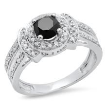 Dazzlingrock Collection 1.30 Carat (ctw) 14K Gold Round Black & White Diamond Ladies Split Shank Halo Engagement Ring