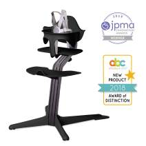 Nomi High Chair, Black – Black Oak Wood, Modern Scandinavian Design with a Strong Wooden Stem, Baby through Teenager and Beyond with Seamless Adjustability, Award Winning Highchair