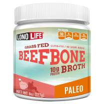 Beef Bone Broth Powder by LonoLife, Grass Fed, 10g Collagen Protein, Keto & Paleo Friendly, Low-Carb, Gluten Free, 8oz Bulk Container - 15 Servings