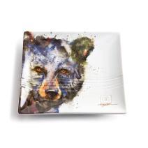 DEMDACO Dean Crouser Bird Watercolor 7 x 7 Ceramic Stoneware Decorative Snack Plate (Grizzly Bear)