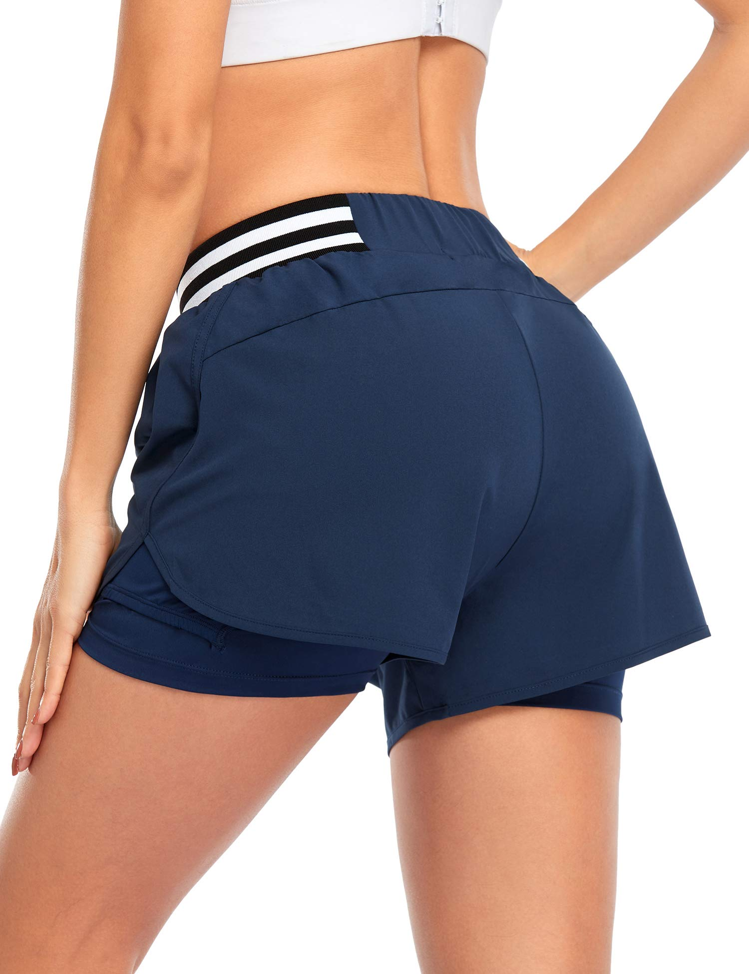 COOrun Tennis Shorts for Women 2 in 1 High Waisted Athletic Running Golf Shorts with Ball Pocket - 3 inches