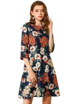 Allegra K Women's Summer Floral Print 3/4 Sleeve Round Neck A-Line Dress