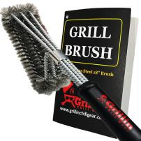 Grillin Chill Gear BBQ Grill Cleaner Brush - Stainless Steel Wire Grill Brush for Deep Grill Cleaning - 18 inch Handle for Safety Lifetime Manufacturers Warranty