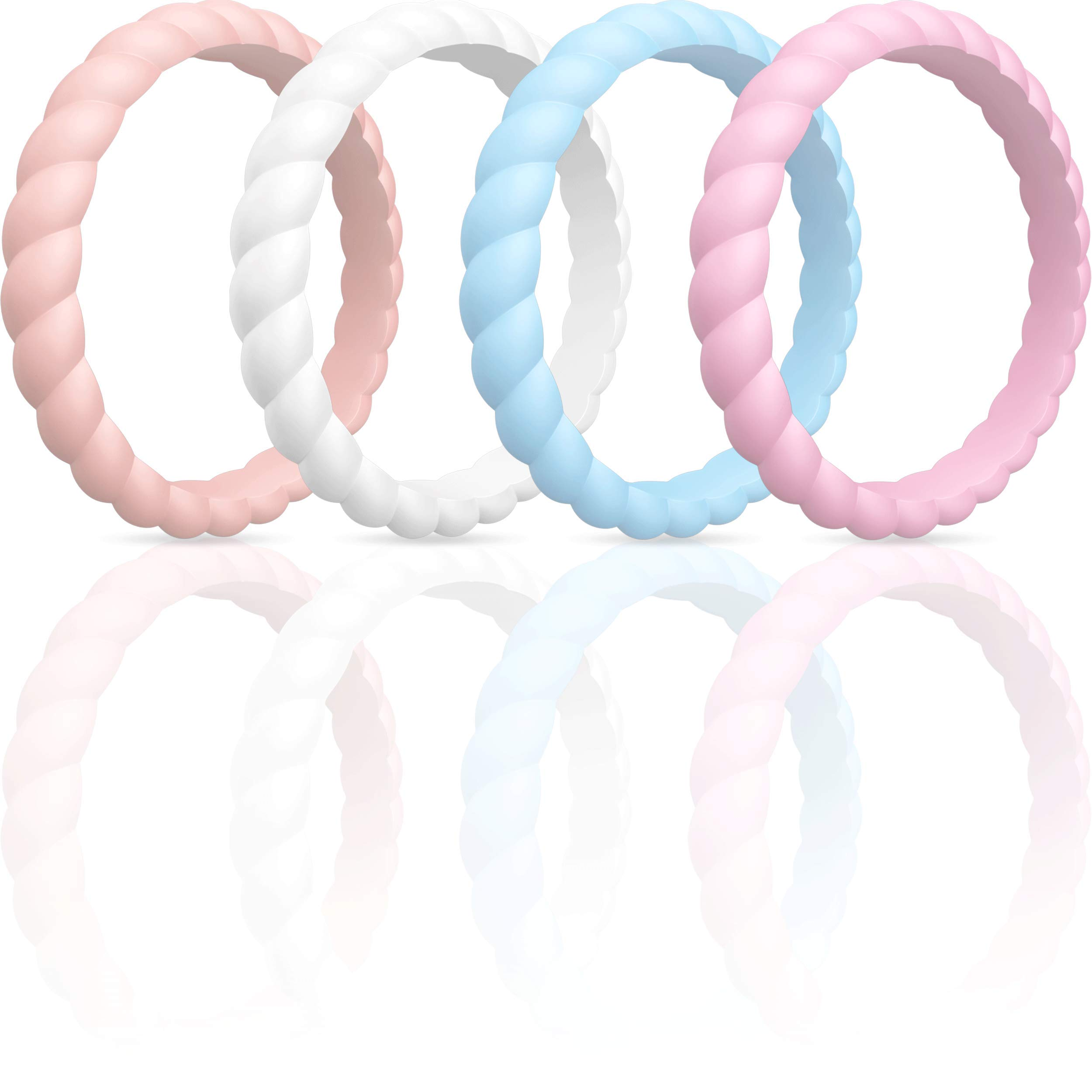 2.5 mm Thick 10 Packs Braided Thin and Stackable Rubber Bands Silicone Wedding Ring for Women 3 mm Wide