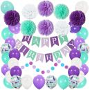 Mermaid Party Decorations and Supplies- Happy Birthday Banner, Pom Pom Decor, Latex Confetti Balloons for Birthday Party, Baby Shower, Under The Sea Party Favors